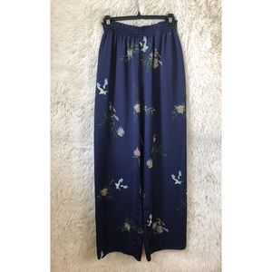 ZARA navy floral wide leg pants